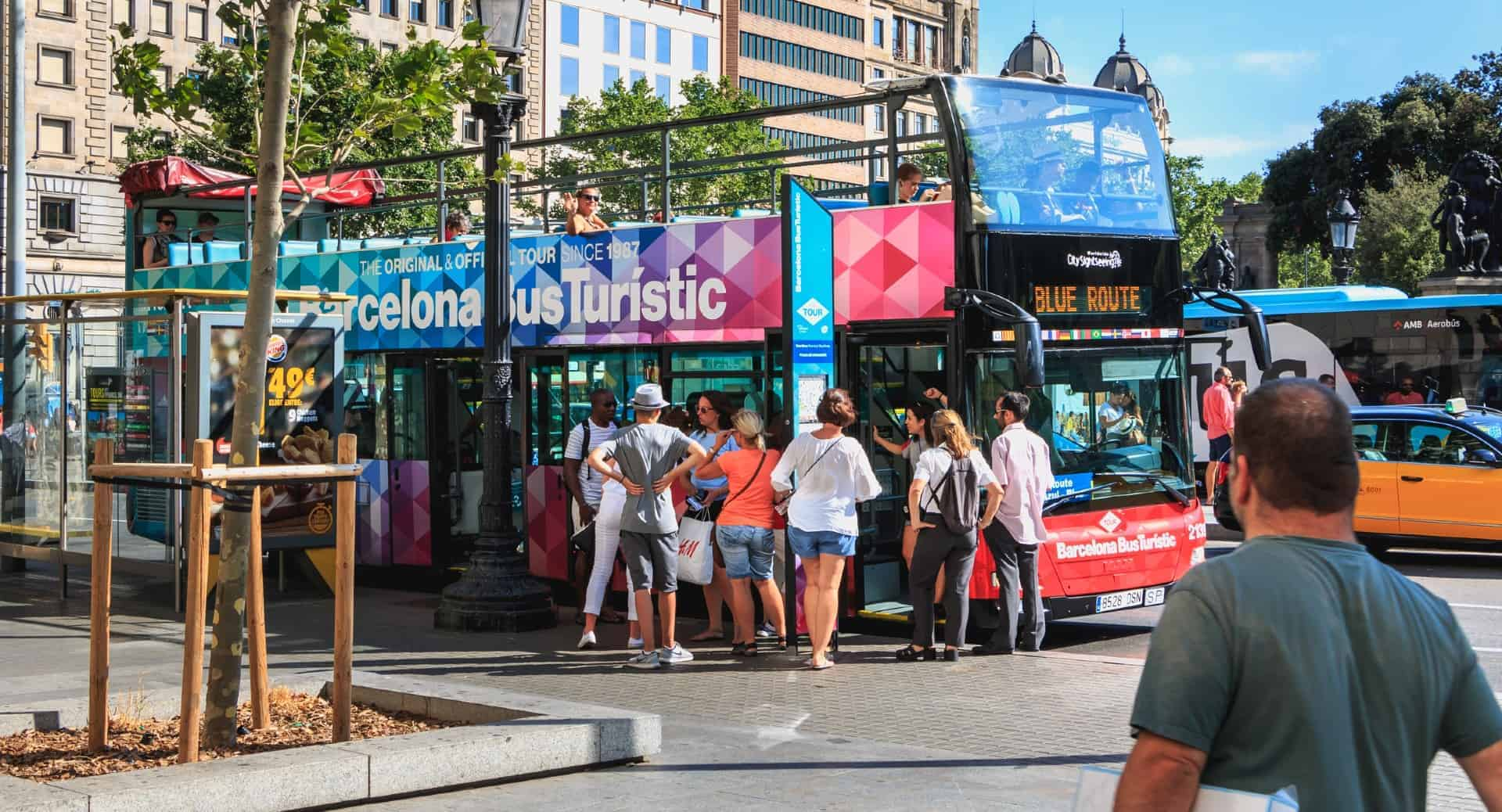 Barcelona Hop On Hop Off Bus At Placa Catalunya