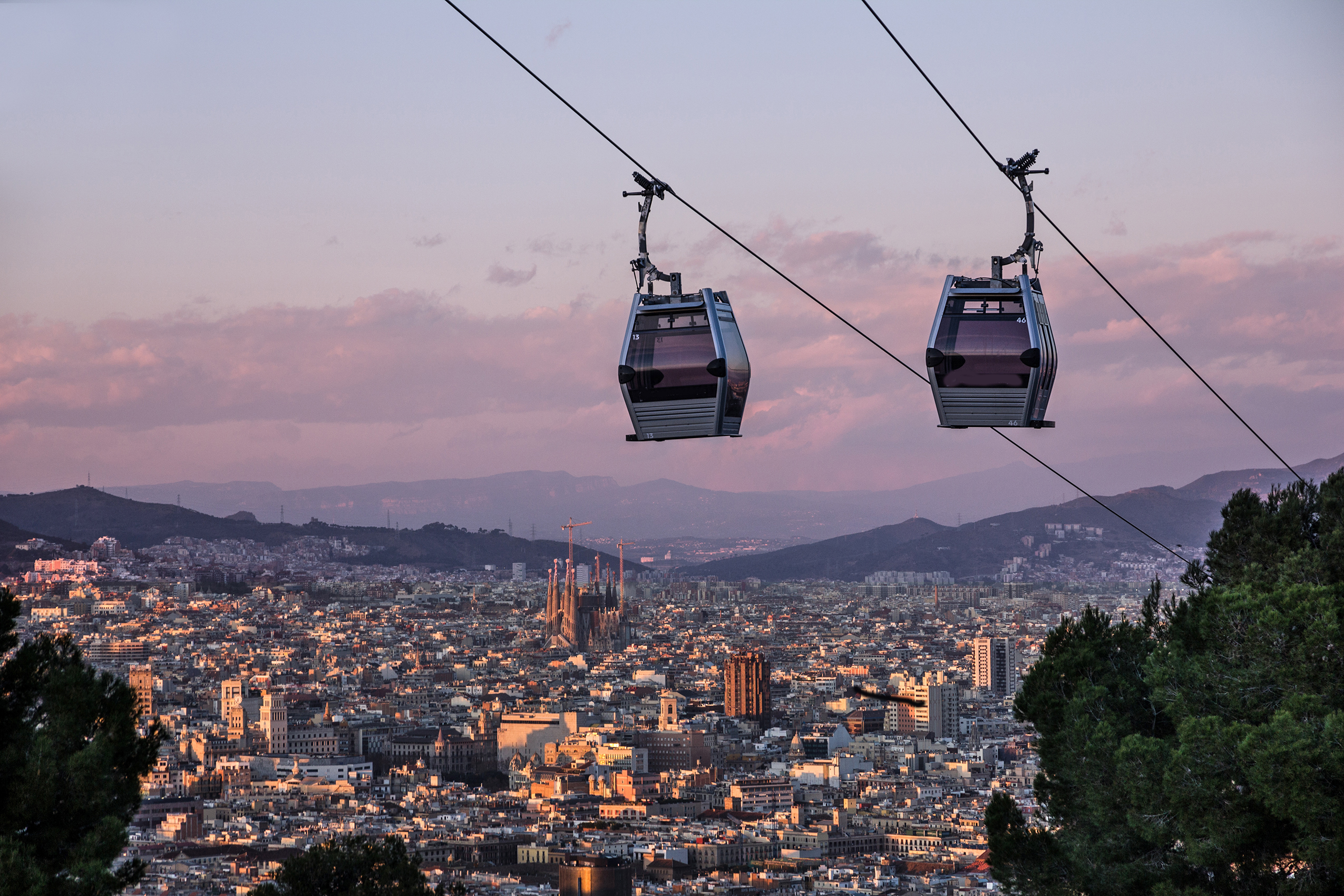 Barcelona Cable Car With City View