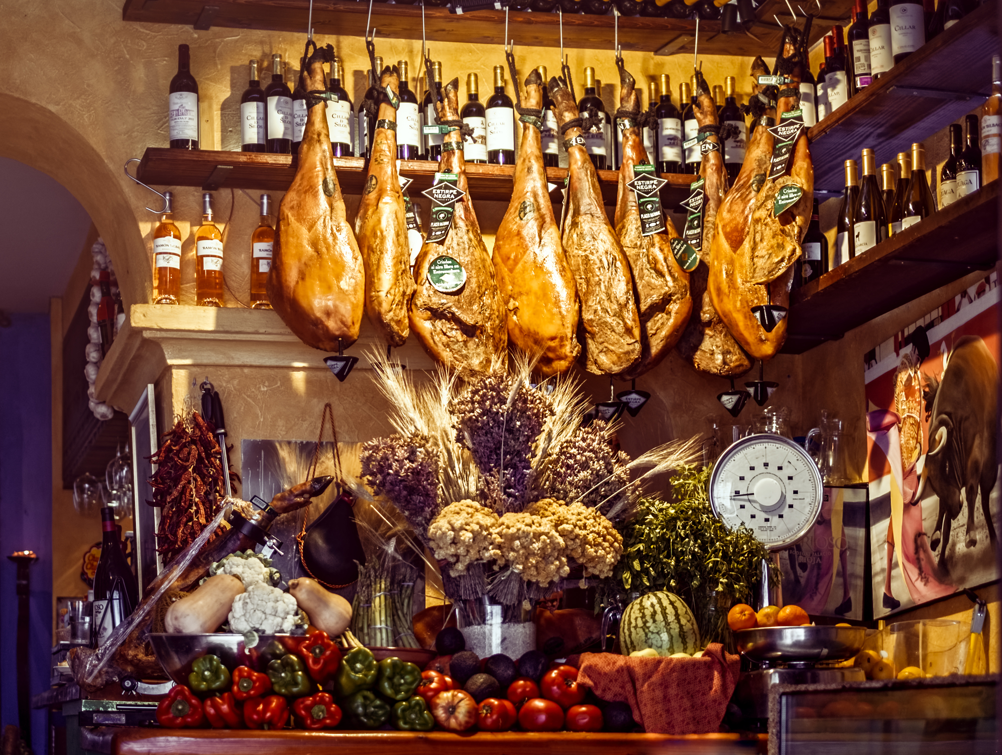 Spanish Ham And Wine In Speciality Shop