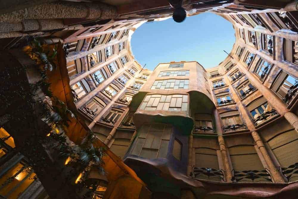 Inside view of Casa Mila from the courtyard