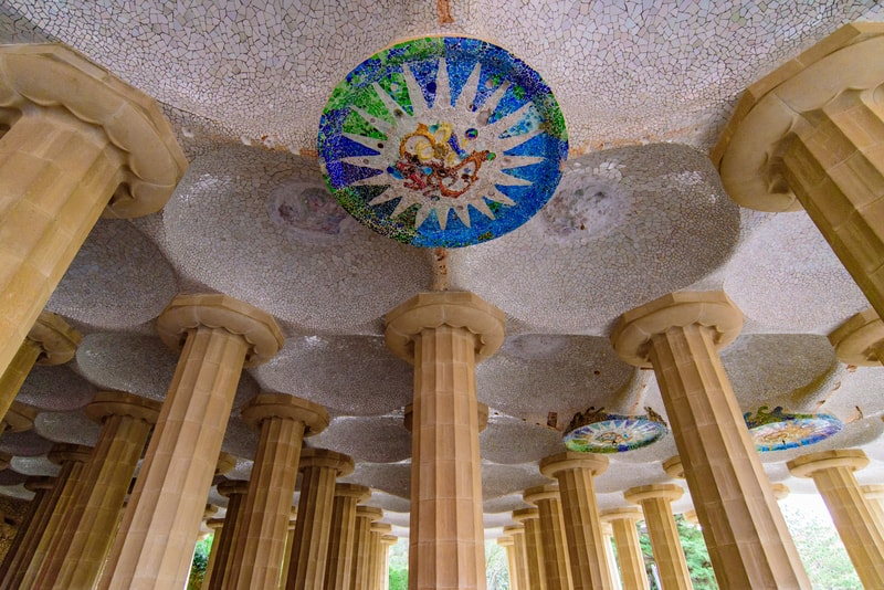 Hypostyle Hall In Park Guell