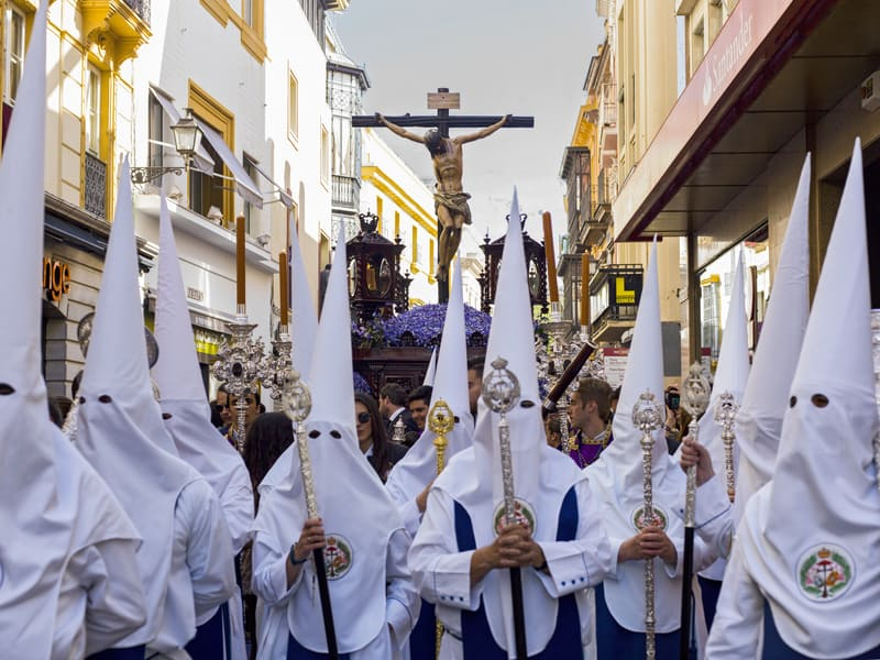 A Float Depicting Jesus On The Cross During The Semana Santa Procession