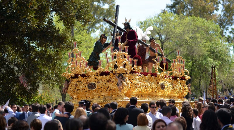 A Semana Santa Float Depicting Jesus While Carrying The Cross