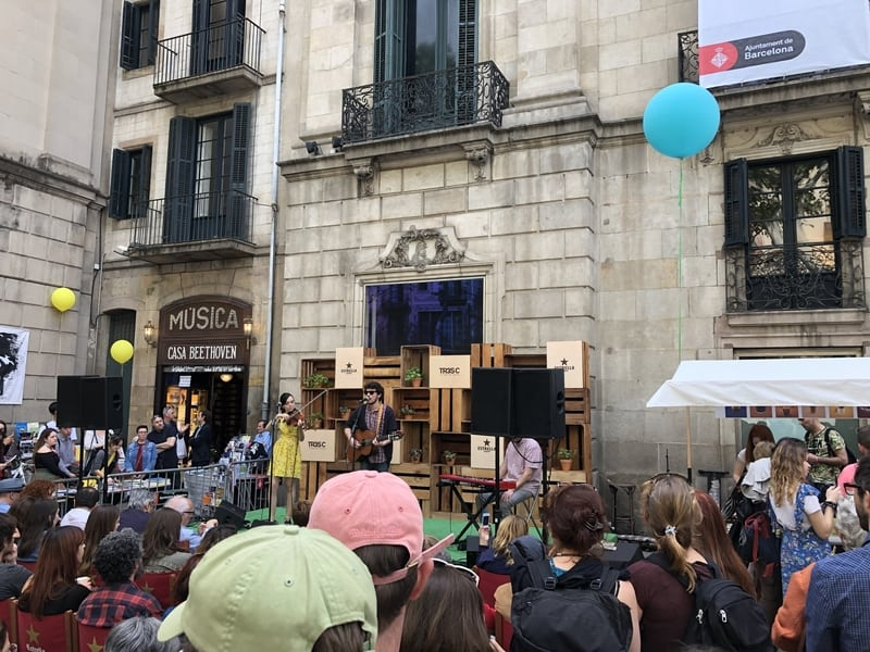 Bands Playing During Sant Jordi Day In Barcelona