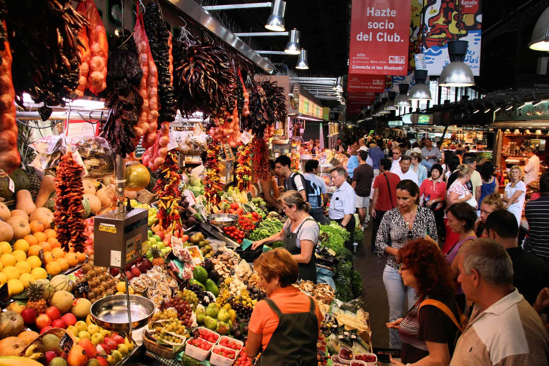 Barcelona Boqueria Market Scene