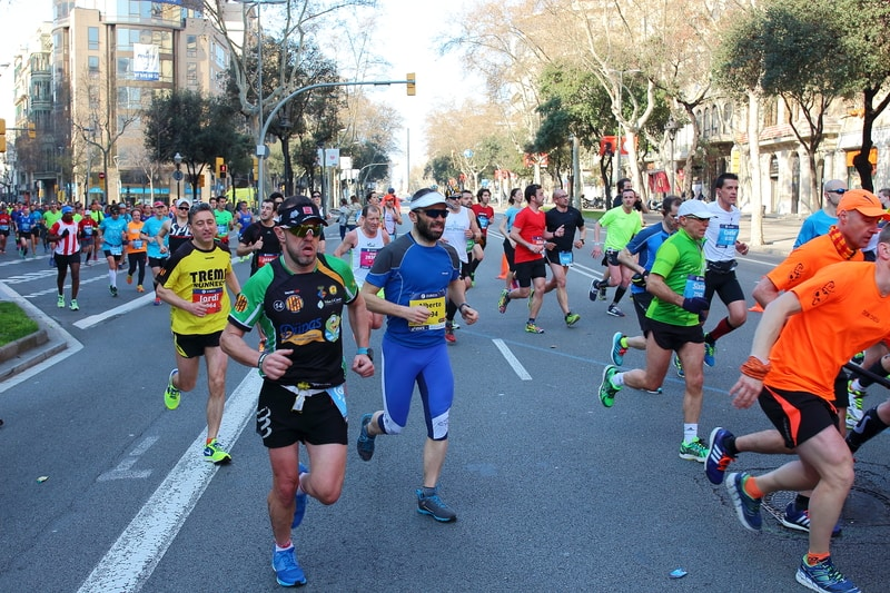 Runners Competing In The Barcelona Marathon