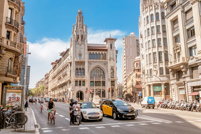 Barcelona Street With Traffic In Old Center - Barcelona in February