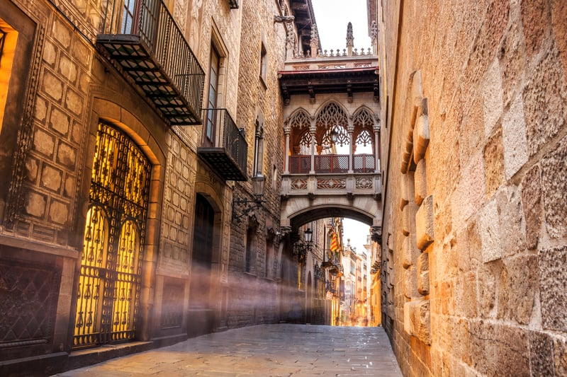 Barri Gotic Of Barcelona The Old City Center Of Barcelona