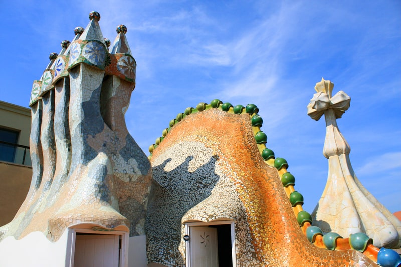 Casa Batllo Chimneys On Rooftop