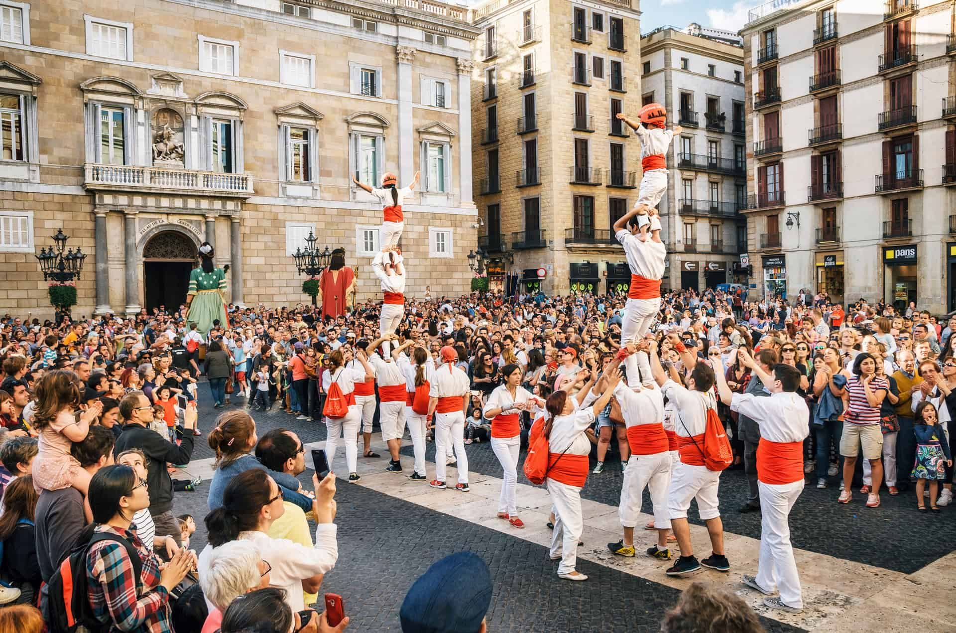 Castellers And Gigantes During Corpus Christi