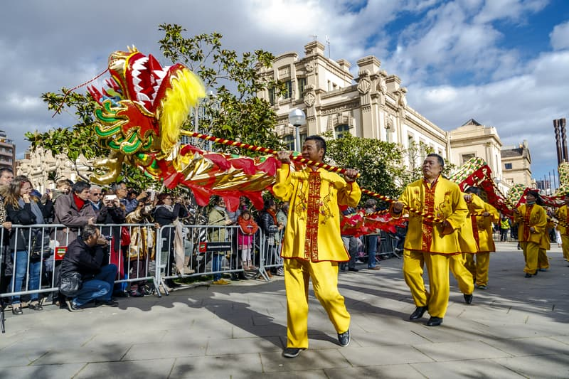 A Parade During Chinese New Year In Barcelona
