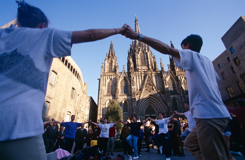 People Celebrating Outside The Cathedral Of Santa Eulalia