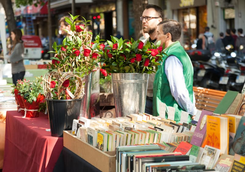 Stalls That Sell Books And Roses During Sant Jordi Day In Barcelona