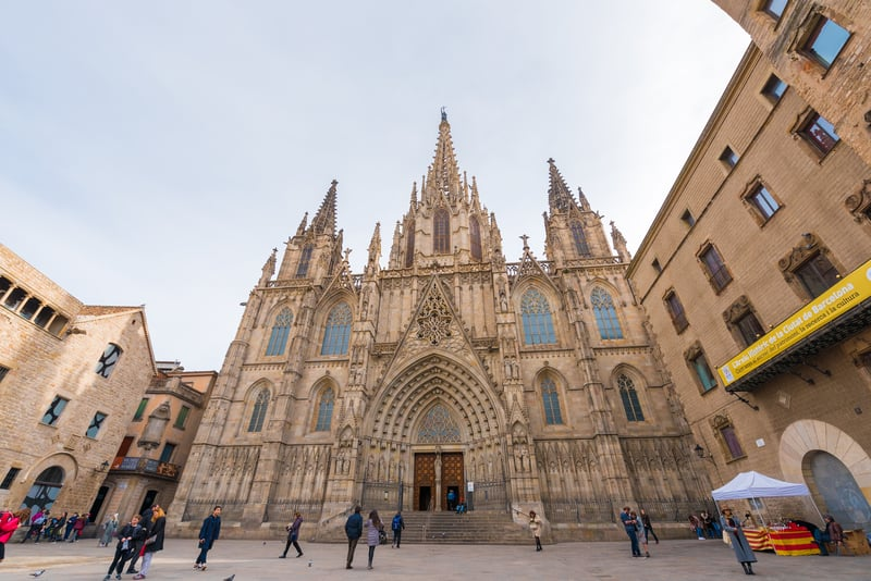 The Cathedral Of The Holy Cross And St Eulalia - Barcelona in February