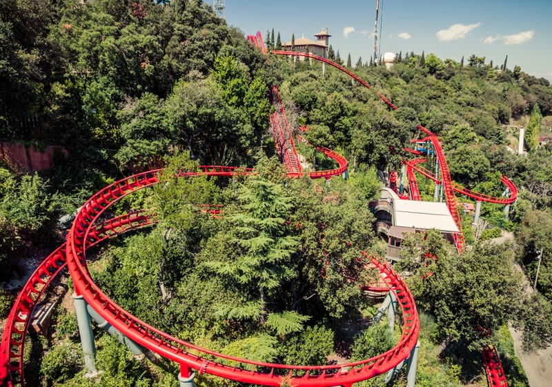 The red rollercoaster on Tibidabo