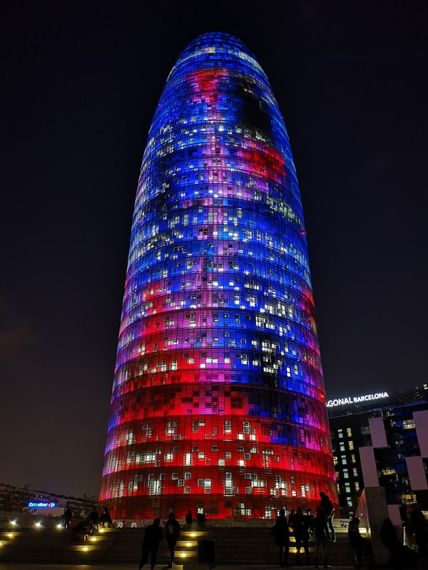 Torre Agbar Tower Illuminated At Night of Llum BCN Festival